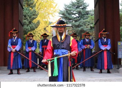 SEOUL, SOUTH KOREA : NOVEMBER 01, 2017 - Royal guards exchange ceremony at the Deoksugung Palace gate in Seoul.