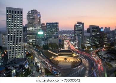 SEOUL, SOUTH KOREA : NOVEMBER 03, 2017 - Aerial view of light trails from traffic at Namdaemun Gate in Seoul. Namdaemun Gate is one of the popular tourist landmarks in Seoul.