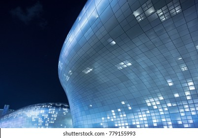 SEOUL, SOUTH KOREA - NOVEMBER 10, 2017 : Dongdaemun Design Plaza (DDP) by Zaha Hadid Architects provides Seoul with a hub for art, design and technology, plus a landscaped park.