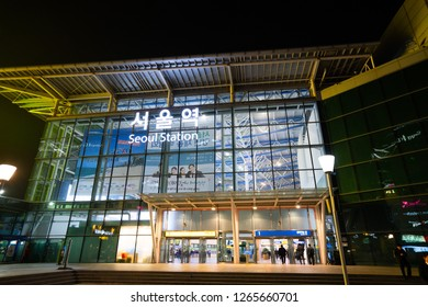 SEOUL, SOUTH KOREA - NOVEMBER 15, 2018 : Passengers inside of Seoul Station. The station is the terminus for the country's high-speed train KTX