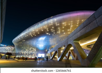 Seoul, South Korea - November 15, 2018: Dongdaemun Design Plaza (DDP) at night. The newest and most iconic landmark of the Korean design industry with modern interior curve shape architectural
