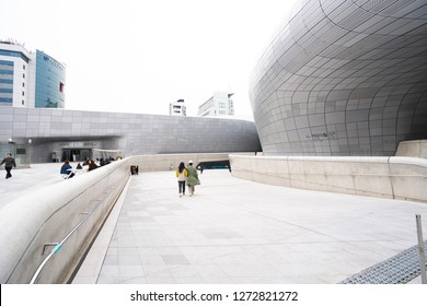 Seoul, South Korea - November 15, 2018: Dongdaemun Design Plaza (DDP), the newest and most iconic landmark of the Korean design industry with modern interior curve shape architectural