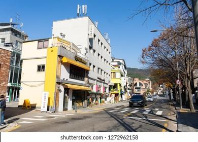 SEOUL, SOUTH KOREA - NOVEMBER 15, 2018 : Autumn in Samcheongdong street