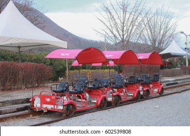 SEOUL, SOUTH KOREA - NOVEMBER 15, 2015: Rail bike in Gangwon province, South Korea. This place is popular for tourist and it is fun activity.