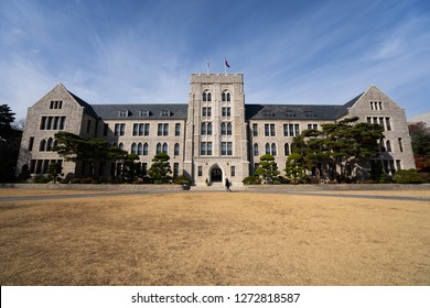 SEOUL, SOUTH KOREA - NOVEMBER 18, 2018 : Korea University Campus in autumn