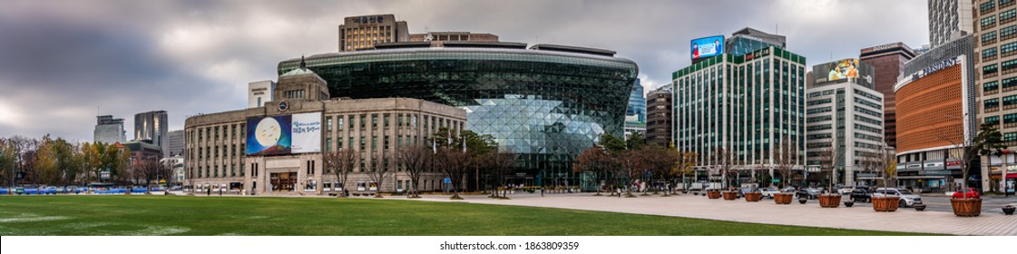 Seoul, South Korea - November 2020, panoramic view of Seoul plaza with Seoul city hall and Seoul library during coronavirus pandemic lockdown