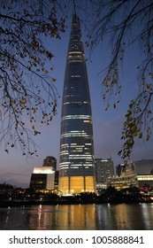 SEOUL, SOUTH KOREA - NOVEMBER 3, 2017: Lotte World Tower, a 123-floor, 554.5-meter supertall skyscraper, currently the tallest building in South Korea, on November 3, 2017 in Seoul.