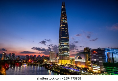 Seoul, South Korea: November 30,2019 : View of Lotte World Mall at night.