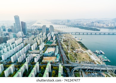 SEOUL, SOUTH KOREA, November 3th 2016: Aerial view of Seoul, houses and river view