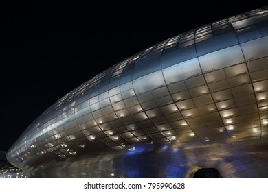 SEOUL, SOUTH KOREA - NOVEMBER 4, 2017: Dongdaemun Design Plaza at night, the landmark is the centerpiece of South Korea's fashion hub and popular tourist destination, on November 4, 2017 in Seoul.