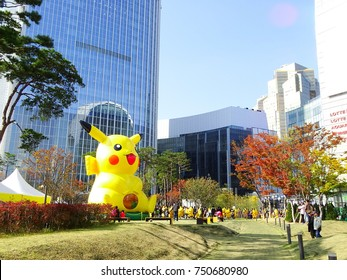 Seoul, South Korea, November 5, 2017, There are Picachu characters around Lotte world Tower  which is one of the highest building and autumn leaves hot spots  in Seoul, Korea
