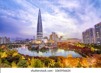 Seoul, South Korea, November,01, 2017, Seokchon lake and Lotte world tower in a clean sky which is one of the highest building and hot spots in Seoul, Korea
