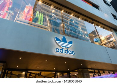 SEOUL SOUTH, KOREA - OCT 21,2018 :Adidas original shop at Hongdae(Hongik University) shopping street. Hongdae is a shopping cultural street for young people in Seoul.