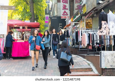 SEOUL SOUTH, KOREA - OCT, 22: Ewha shopping street, the famous shopping area around Ewha Womans University for female teenage on October 22, 2018 in Seoul, South Korea