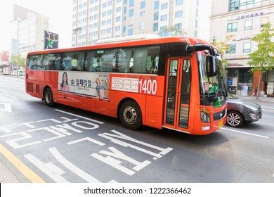 SEOUL SOUTH, KOREA - OCT, 22: Seoul city bus is driving to stop area around Ewha Womans University on October 22, 2018 in Seoul, South Korea