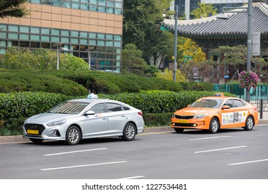 SEOUL SOUTH, KOREA - OCT 22, 2018 : With more than 23,000 taxis crawling through the streets of the city day and night, it's easy to get around Seoul.