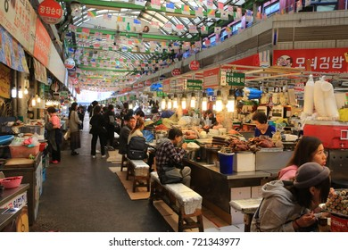 SEOUL, SOUTH KOREA OCT 22: the food store in Gwangjang Market in Seoul on 22 October 2016. Gwangjang Market is one of the large local market in seoul