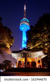 SEOUL, SOUTH KOREA - OCT 30: Night view of N Seoul Tower on October 30,2013 in Seoul, Korea. Built in 1969,since then, the tower has been a landmark of Seoul.