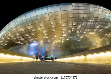 Seoul, South Korea - October 02, 2017: Modern architecture at the Dongdaemun Design Plaza in Seoul, South Korea. The DDP is a new urban development in the Dongdaemun district of Seoul, designed by wo