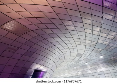 Seoul, South Korea - October 02, 2017: Modern architecture at the Dongdaemun Design Plaza in Seoul, South Korea. The DDP is a new urban development in the Dongdaemun district of Seoul,