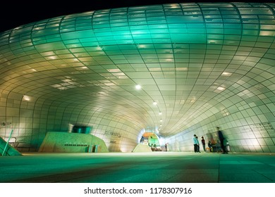 Seoul, South Korea - October 02, 2017: Modern architecture at the Dongdaemun Design Plaza in Seoul, South Korea. The DDP is a new urban development in the Dongdaemun district of Seoul