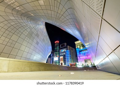 Seoul, South Korea - October 02, 2017: Modern architecture at the Dongdaemun Design Plaza in Seoul, South Korea. The DDP is a new urban development in the Dongdaemun district of Seoul.