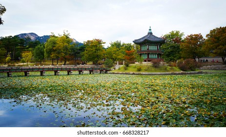SEOUL, SOUTH KOREA - OCTOBER 11 2015: A pagoda stands in the garden at the Gyeongbokgung Palace in Seoul.