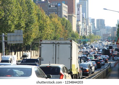 Seoul, South Korea - October 12, 2018: Traffic Congestion in Seoul  Seoul is a city of more than 10 million people and traffic congestion is a common sight