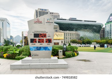 Seoul, South Korea - October 12, 2017: The countdown clock for the XXIII Olympic Winter Games at Seoul Plaza. The Republic of Korea prepares to host the 2018 Winter Olympics in PyeongChang.