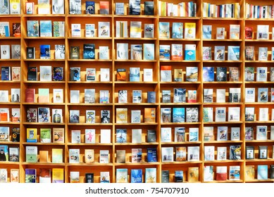 Seoul, South Korea - October 14, 2017: Bookshelves in Starfield Library at Gangnam District. Thousands of books and magazines are available for visitors to read in the public library.