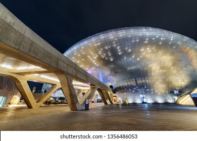 Seoul, South Korea - October 15, 2017: Wonderful night view of the Dongdaemun Design Plaza. Amazing neofuturistic building designed by Zaha Hadid. The DDP is a popular tourist attraction of Asia.