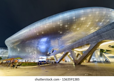 Seoul, South Korea - October 15, 2017: Amazing night view of the Dongdaemun Design Plaza. Awesome neofuturistic building designed by Zaha Hadid. The DDP is a popular tourist attraction of Asia.
