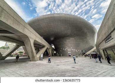 Seoul, South Korea - October 15, 2017: Beautiful view of the Dongdaemun Design Plaza. Building designed by Zaha Hadid. The DDP is an urban landmark of Seoul and popular tourist destination of Asia.