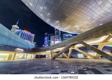 Seoul, South Korea - October 15, 2017: Beautiful night view of the Dongdaemun Design Plaza. Amazing neofuturistic building designed by Zaha Hadid. The DDP is a popular tourist attraction of Asia.