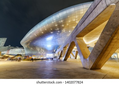 Seoul, South Korea - October 15, 2017: Gorgeous night view of the Dongdaemun Design Plaza. Amazing neofuturistic building designed by Zaha Hadid. The DDP is a popular tourist attraction of Asia.