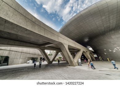 Seoul, South Korea - October 15, 2017: Fabulous view of the Dongdaemun Design Plaza. Building designed by Zaha Hadid. The DDP is an urban landmark of Seoul and popular tourist destination of Asia.