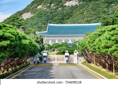 Seoul, South Korea - October 15, 2017: Scenic view of the main building of Cheong Wa Dae. The Blue House is the executive office and official residence of the President of the Republic of Korea.