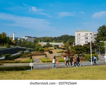 Seoul, South Korea - October 16, 2017: Tourist visiting Ehwa womans university. This is the first women university in South Korea.