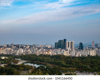 Seoul, South Korea - October 16, 2017: Landscape of Seoul City seen from Haneul park.