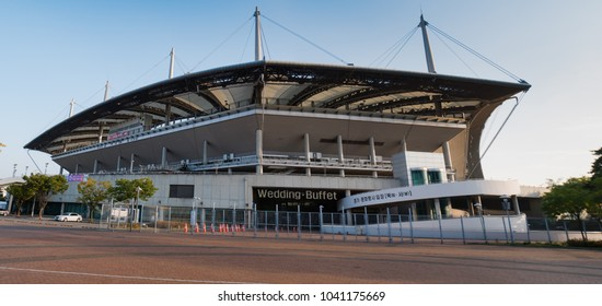Seoul, South Korea - October 16, 2017: Seoul World Cup Stadium also known as Sangam Stadium, It was built for the 2002 FIFA World Cup in Seoul, South Korea.