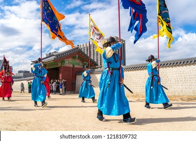 SEOUL, SOUTH KOREA, OCTOBER 18, 2018 : Royal Guards changing ceremony with Korean traditional military clothing
