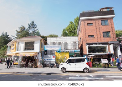 SEOUL, SOUTH KOREA - October 18, 2016: People walking in the street of the Bukchon Hanok Village