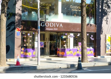Seoul, South Korea - OCTOBER 19, 2018:Garosugil,Godiva Chocolate Store.