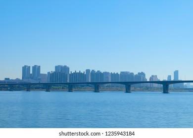 Seoul, South Korea - OCTOBER 19, 2018: Yeouido hangang park in autumn season, A famous park beside Han river.
