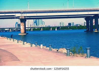 Seoul, South Korea - OCTOBER 19, 2018: Yeouido hangang park , A famous park beside Han river.