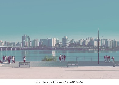 Seoul, South Korea - OCTOBER 19, 2018:people in Yeouido hangang park in autumn season, A famous park beside Han river.