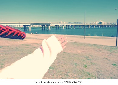 Seoul, South Korea - OCTOBER 19, 2018:Girl hand in Yeouido hangang park in autumn season, A famous park beside Han river.