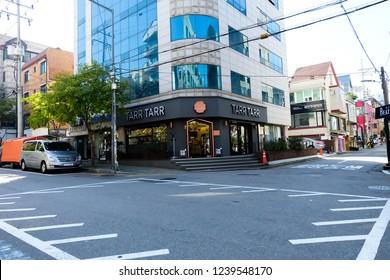 Seoul, South Korea - OCTOBER 20, 2018 : hongdae shop street.