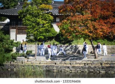 Seoul, South Korea, October 2012: Traditional Taekwondo Demonstration Performance in Namsangol Hanok Village's. Seoul. Taekwondo is the national sport of korea.