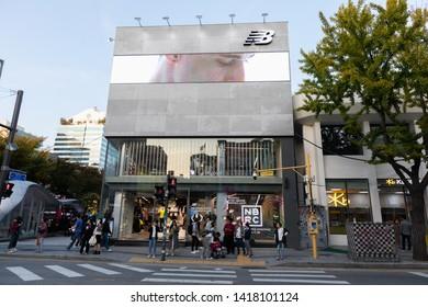 SEOUL, SOUTH KOREA - OCTOBER 21, 2018 : New Balance shop at Hongdae(Hongik University) shopping street. Hongdae is a shopping cultural street for young people in Seoul.
